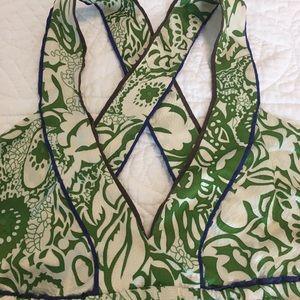 MINT Jodi Arnold Dresses - Green and white silk dress by Mint.